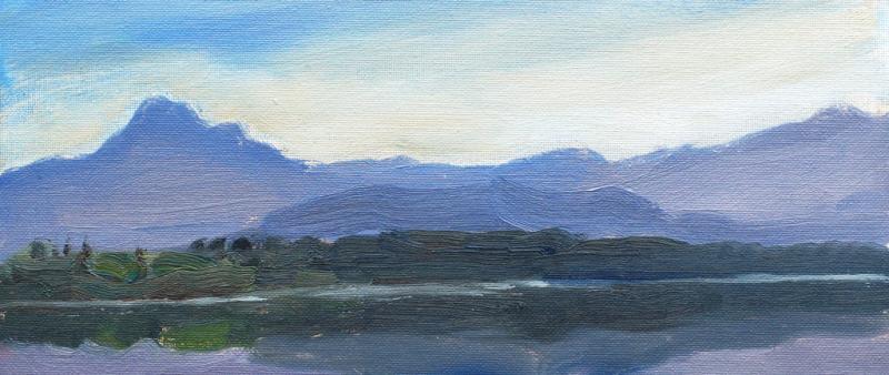 Schnelle Landschaftsskizze in Öl